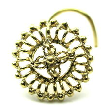 Indian Nose Cork Screw, Gold Plated L Bend Nose Ring,22g Flower Nose Pin