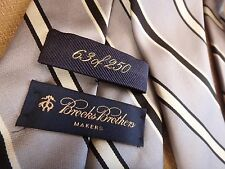 63 of 250 Silver Black White Striped Silk Brook Brothers Maker Men's Neck Tie