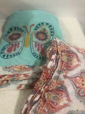 Levtex Baby Zahara Butterfly Blanket Security Teal Orange Pink Paisley +Swaddle