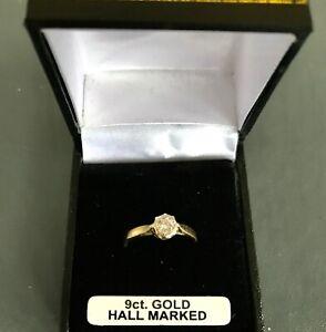 9 ct diamond solitaire ring,illusion set ,yellow gold shank,hallmarked size J