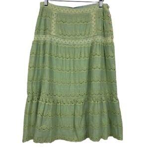 NWT April Cornell Reversible Prairie Midi Skirt in Green/Blue Wmns Size S