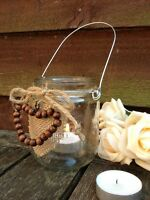 Hanging Glass Tea Light Candle Holder Vintage Bead Heart Jar Wedding Decoration
