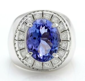 7.50 Carat Natural Blue Tanzanite and Diamonds in 14K Solid White Gold Men Ring