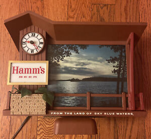 "Vintage 1960s Hamms Beer Sign ""Sunrise to Sunset"" Motion Clock Light WORKS RARE"