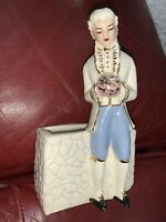 Vintage Colonial Man Planter Vase Figurine Pottery
