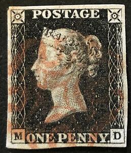 1840 Penny Black 1d Stamp GB Red Maltese Cross 4 Margins MD Plate 4