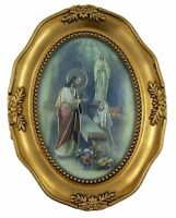 First Communion Praying Girl Icon in Gold Embossed Oval Picture Frame