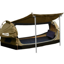 New listing Mountview King Single Swag Camping Swags Canvas Dome Tent Free Standing Khaki