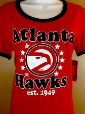 Nba Atlanta Hawks Womens Baby Short Sleeve Ringer Tee Shirt Sz M Red