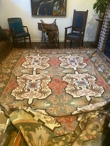 NEW Six medallion geometric European style floral hand knotted wool flat RUG