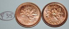 Canada 2011 L 1 Cent Steel + Zinc One Canadian Penny Coin Logo 2 Coins Lot #F35