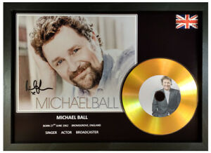 MICHAEL BALL SIGNED PHOTOGRAPH GOLD CD DISC DISPLAY COLLECTABLE MEMORABILIA GIFT