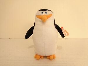 2008 Ty Beanie Baby Penguins of Madagascar Skipper Stuffed Animal Beanbag Plush