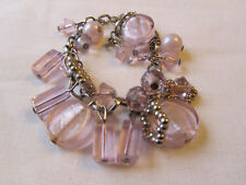 "Silver Tone & Pink Glass Bead on Chain Bracelet - 6.5-8.5"" long"
