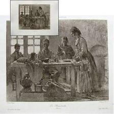 Henri Royer le bénédicité c1900 Héliogravure Chauvet maîtres dessin Nancy