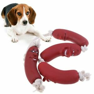 Dog Red Chew Toys Sausage Squeaky Toys Pets Healthy Latex Dog Toys Pet Supplies