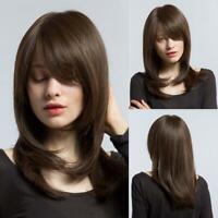 Office Lady Women Fashion Brown Straight Medium Long Hair BOB Bangs Women's Wigs