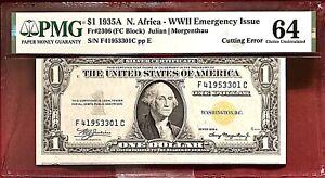 CUTTING ERROR! 1935A $10 SILVER CERTIFICATE NORTH AFRICA ISSUE PMG CHOICE UNC-64