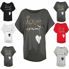 Ladies Oversized LOVE BRAVE HEART Printed Womens Baggy Batwing Hi Lo T Shirt Top