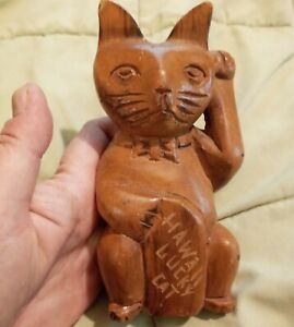 Vintage Carved Wood Cat Figurine, Hawaii Lucky Cat, Signed DNC