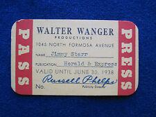ORIGINAL 1938 WALTER WANGER FILM STUDIO PASS for Hollywood Columnist JIMMY STARR