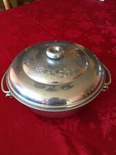 VINTAGE PYREX CASSEROLE DISH SERVING CONTAINER HAMMERED ALUMINUM