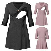 Women Maternity Casual Solid Tunic V Neck Long Sleeve Top Nursing T Shirt Blouse