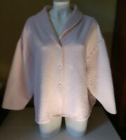 Vintage Shadowline Quilted Poly/Cotton Bed Jacket Robe Pink Snap Front 3X