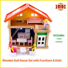Wooden Doll House Furniture Set 2 Storey & Dolls Playhouse Girls Birthday Gift