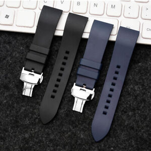 Bracelet Silicone Rubber Replacement Watch Band Strap Deployment Butterfly Clasp