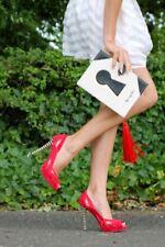 Karen Millen Red genuine suede leather peep toe high heel shoes UK4 37 £155