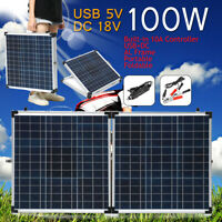 Suitcase Portable 100W Folding Solar Panel Kit & 10A Controller for 12V