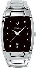 Bulova Black Dial Silver Tone Bracelet Mens Watch 96G46 SD1