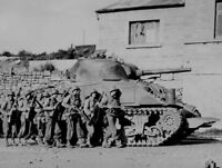 B&W Photo US Army M4 Sherman in Action, France, 1944 World War Two  WWII WW2
