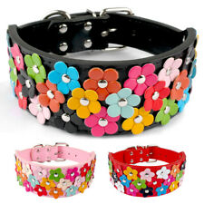 5cm Wide Fancy Flowers Pet Dog Collar for Medium Large Girl Dogs Black Red Pink