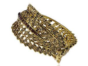 Gold Crystal Rhinestone Feather Design Gold Bracelet Bangle Cuff Chic Wrist Band