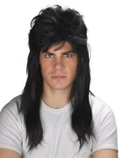 80s 80 Bogan Mullet Black Punk Pop Star Costume Men Wig