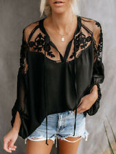Women Fashion Casual Sexy V Neck Lace Long Sleeve Loose Blouse Shirt Tops