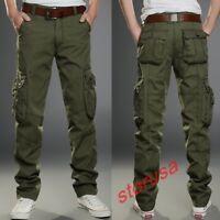 Men Casual Pants Combat Tactical Pant Motorcycle Cargo Pocket LLose Fit Trousers