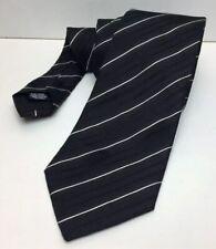 HUGO BOSS Black + Fine White Stripes 100% Silk Neck Tie