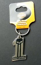 Harley Davidson #1 No 1 Skull Key Ring Keychain Chain 2.5 x 1.5 inches keyring