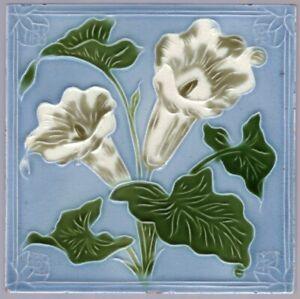 Henry A Ollivant - c1898 - White Convolvous Floral - Antique Victorian Tile