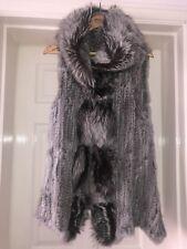 Real Fox And Rabbit Fur Gilet With Fox Fur Trim Hood RRP 350