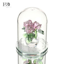 New Crystal Pink Rose Figurines Living Room Wedding Mother's Day Gift Ornaments