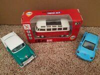 3 Die-cast Metal vehicles. Vw Beatle,  vw bus, and a 1955 Chevrolet belair