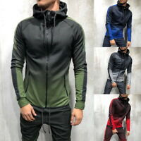 Men's Sports Hooded Sweater Full-Zip Drawstring Hoodie Casual Sweatshirt GIFT