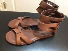 Cole Haan women's ankle strap flat sandals brown 6 1/2 B