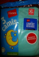 new lot of 3 packages  girls camis shirts hanes 3 pack xl 14 16 blue