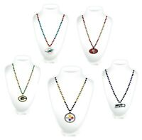 NFL Football Mardi Gras Sport Beads With Medallion Necklace - Pick Team