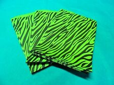 100 5x7 Neon Lime Zebra Party Paper Bags, Animal Striped Colored Gift Kraft Bags